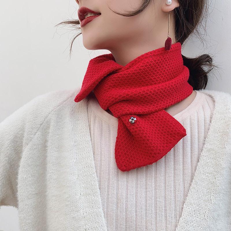 Foulard de couleur unie automne et hiver femme coréen hiver petite fil chaude châle décoration tricoter foulard mignon mode
