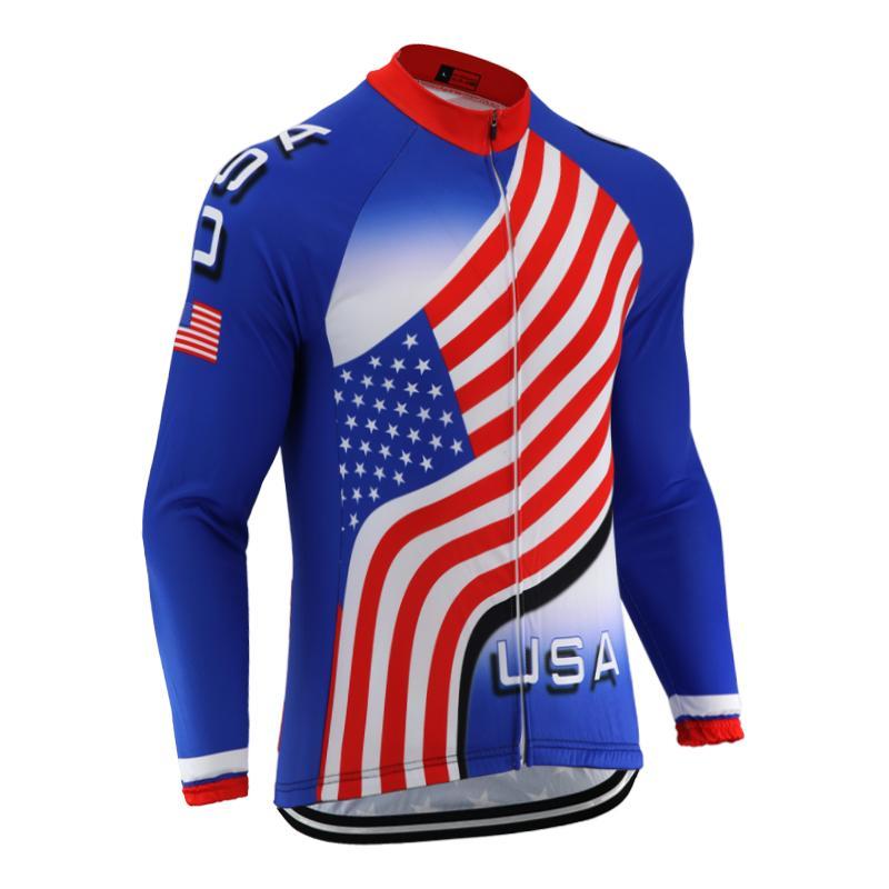 New USA Bandiera Cycling Jersey uomo Team Team Road Mountain Bike Abbigliamento Manica Lunga Termica Winter Fleece Felpa Felpa Retrò Bicycle Wear Jersey