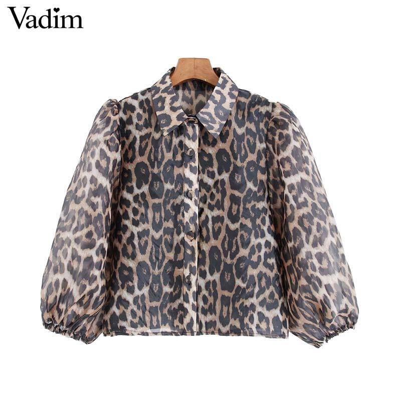 Vadim women chic leopard print blouse transparent three quarter sleeve animal pattern female sexy stylish tops blusas T200321