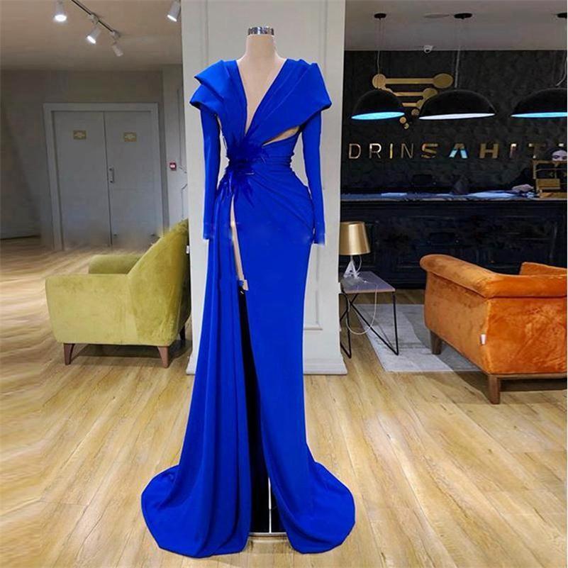 Abiti da sera spaccati alti Side Abiti a maniche lunghe Royal Blue Ruched Red Tappeto Vestito Formale Prom Gowns Elegante Vestido De Novia