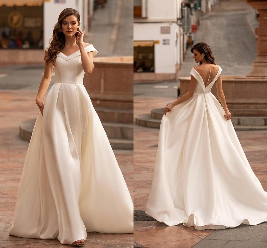 Simple Satin A Line Wedding Dresses 2021 Boho Garden Off The Shoulder Sweep Train Bridal Gowns Illusion Buttons Back robes de mariée AL8710