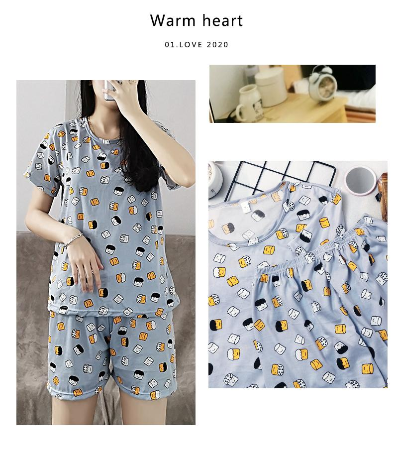 Pyjamas frauen frühling und sommer dünne kurzarm cartoon niedliche milch seide zwei stück lose beiläufige anzug home tragen frauen