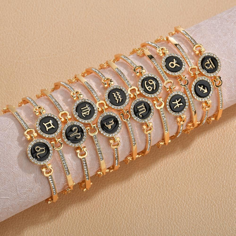 Geburtsschmuck-Konstellationen 12 Tierkreiszeichen Charme Armbänder für Frauen Männer Geburtstagsgeschenk Zirkon Zodiac-Armband Kette