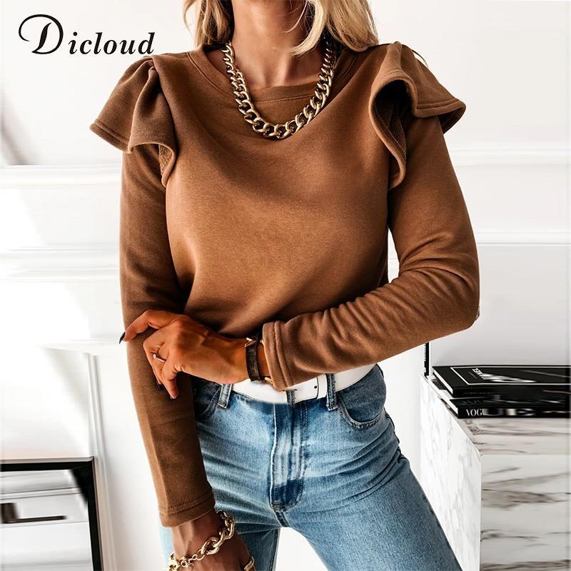 Dicloud Women Ruffle Manica Lunga Inverno Molla Camicia Elegante Neck Round Neck Solid Top Top Ladies 2020 Abbigliamento Brown Shirts Casual