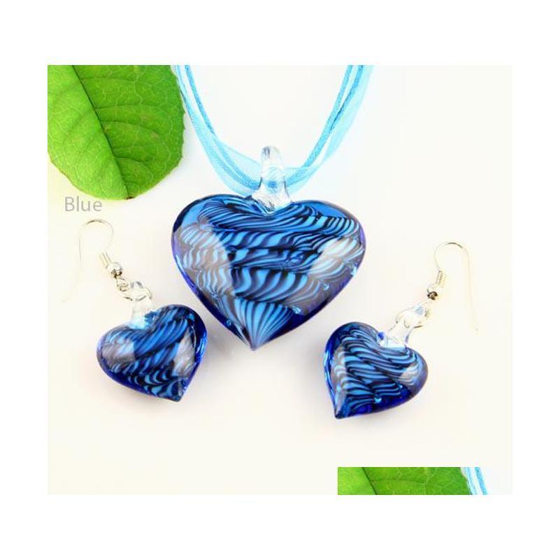 Heart Murano Lampworks Blown Venetian Verre Colliers Pendentifs et boucles d'oreilles Bijoux Ensembles Mus009 Haute Mode Bijoux GS4OU