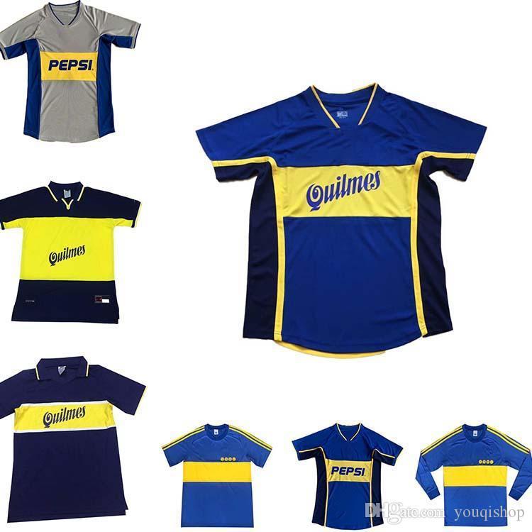 Club Atletico 81 02 Retro Boca Juniors Juniors Soccer Jerseys Camicie da calcio Vintage Casa Blu Yellow Maradona Classic Antique Camisetas de Futbol