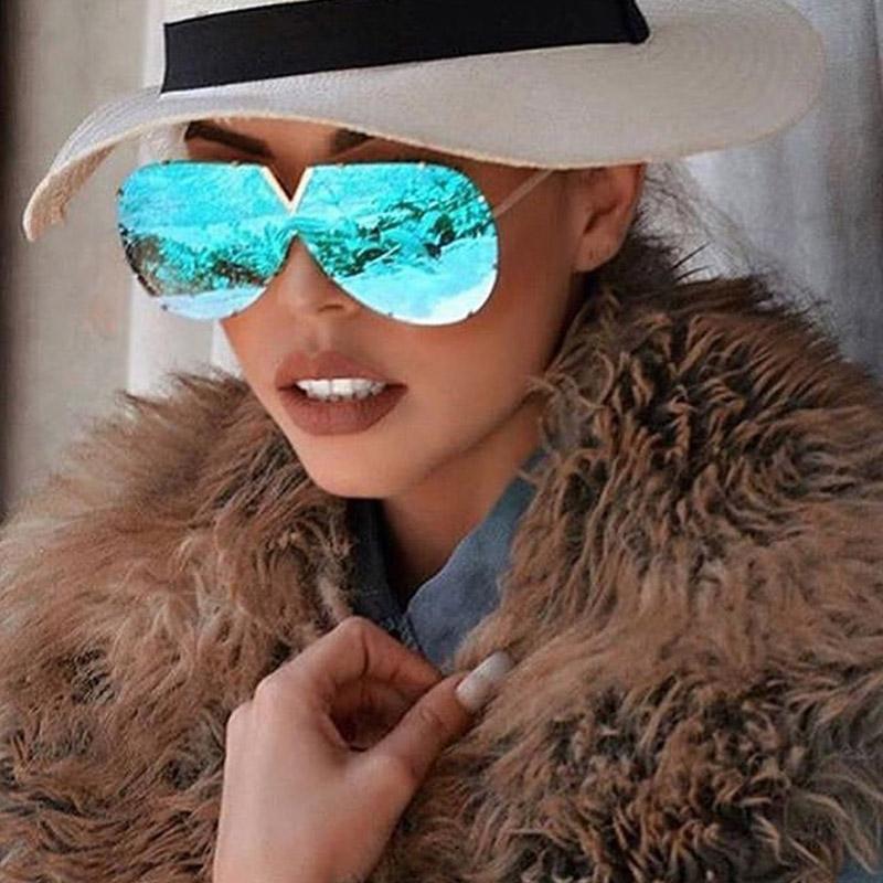 Güneş Gözlüğü Unisex Trendy Pilot Kadınlar Vintage Tek Parça Güneş Gözlükleri Seyahat Ayna Gözlük Erkek Oculo Için