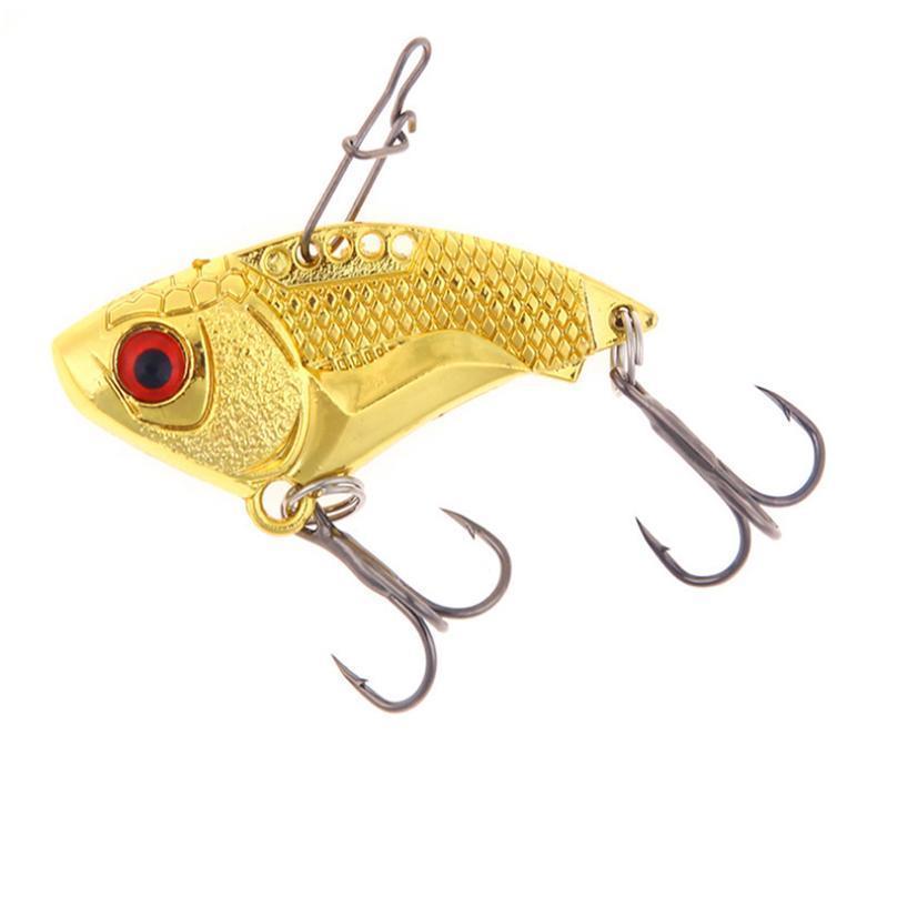 1pcs Metal Vib Fishing Lures 45mm 16g Vivid Vibrations Gold Sliver Spoon Lure Bass Artificial Fishing Hard Bait Cic jllTqM