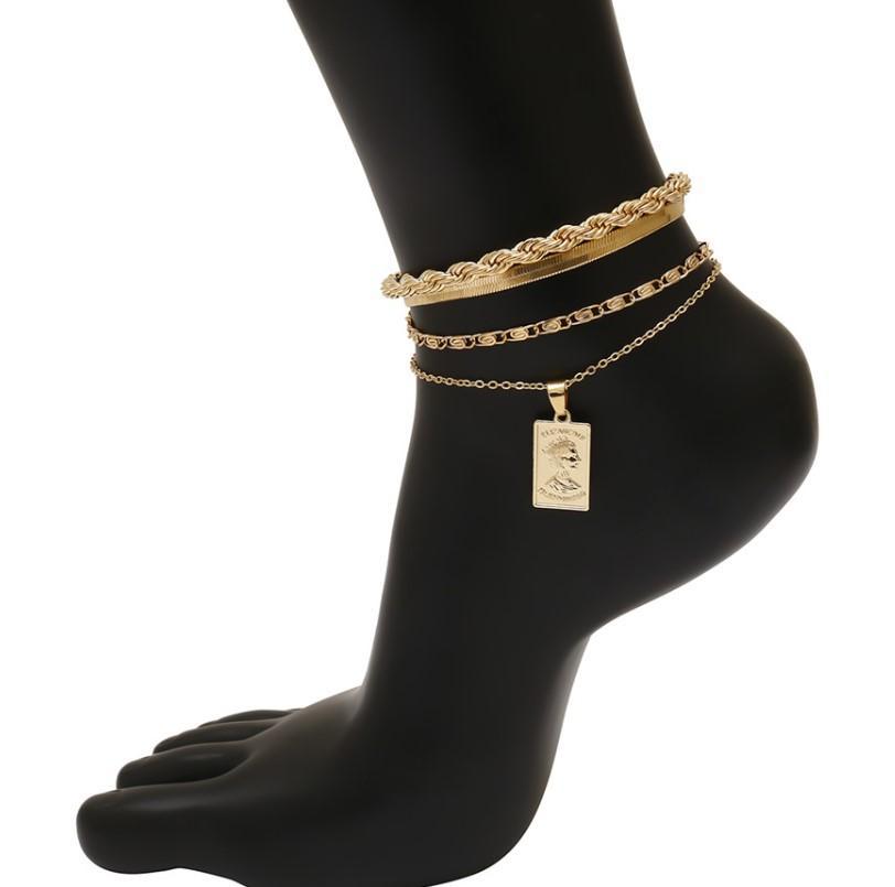 Charm Iron Snake Chain New Toblet Brazalet For Women Hombres Ajustables Punk Tizcadores Accesorios de zapato Sandalias descalzos Foot Jewelry