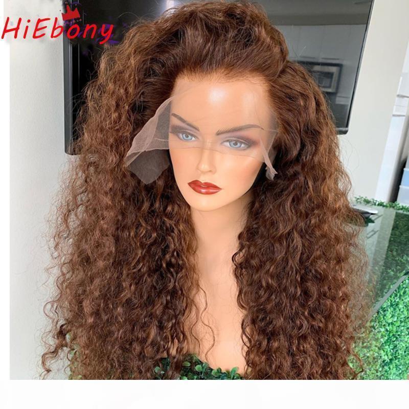 Hiebony Curly Remy Человеческие волосы шнурки передних париков вьющиеся вьющиеся безразличные кружевные фронтальные парики Натуральная линия волос 18-26 '' прозрачный