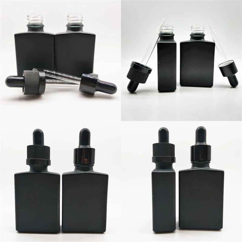 30 мл глазурью стекло флаконы сплошной черный квадрат прямоугольная пипетка капельница жидкая эфирная бутылка масла простота новая 1 1YB M2
