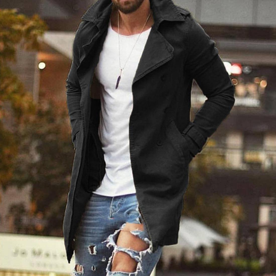 İlkbahar Sonbahar Erkekler Trençkot Ceket Slim Fit Plus Size Erkekler C1118 için Siyah Dış Giyim İş Uzun Windproof Palto Ceket