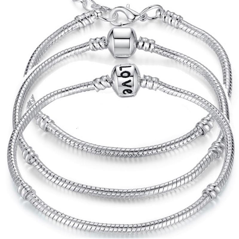 FACTORYJOKVCHAIN Pulseras Snake 925 Sterling Silver 3mm Charm Fit Pandora Charms Bangle Brazalete Pulsera Joyería de moda D