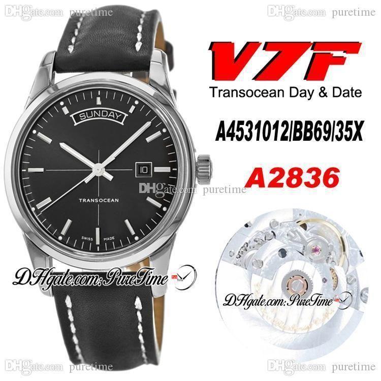 2020 V7F Trapocean Gündüz Tarihi A4531012 ETA A2836 Otomatik Erkek İzle Siyah Arama Siyah Deri Beyaz Çizgi En İyi Edition Yeni Ptbl Puretime
