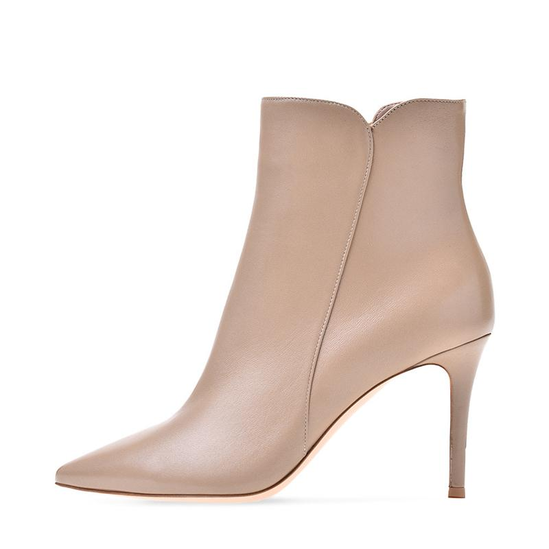 Knöchel Mulheres Boots PRIMAVERA OUTO SALTO FINO DEDO APONTADO Couro Genuno Femininas Botas Moda Bota Sapatos de Contorto TL-A0228 6EGF