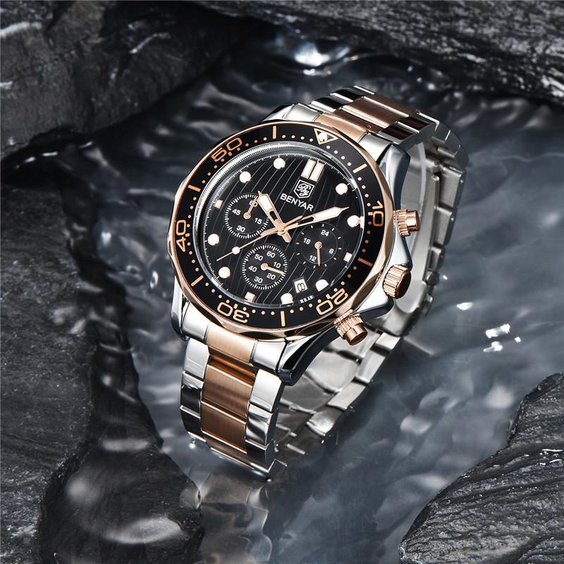Benyar Mens relógios Marca de aço inoxidável de luxo Esporte impermeável Quartzo Cronógrafo militar relógio militar homens Relogio masculino