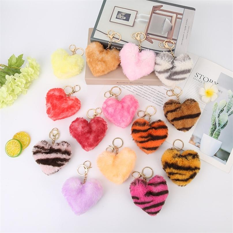 Leopardo impressão coração chaveiro brinquedo brinquedo brinquedos brinquedos brinquedos kawaii boneca mini bonitinho penhor pelúcia carro chaveiro chaveiro g12905