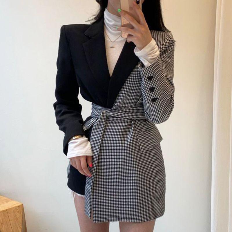 [EWQ] 2020AUTUNN Kış Vintage Tam Kollu Ekose Dikiş Düzensiz Sapanlar Kadın Blazer Kore Tarzı Gevşek Trend Ceket QL884 X1214