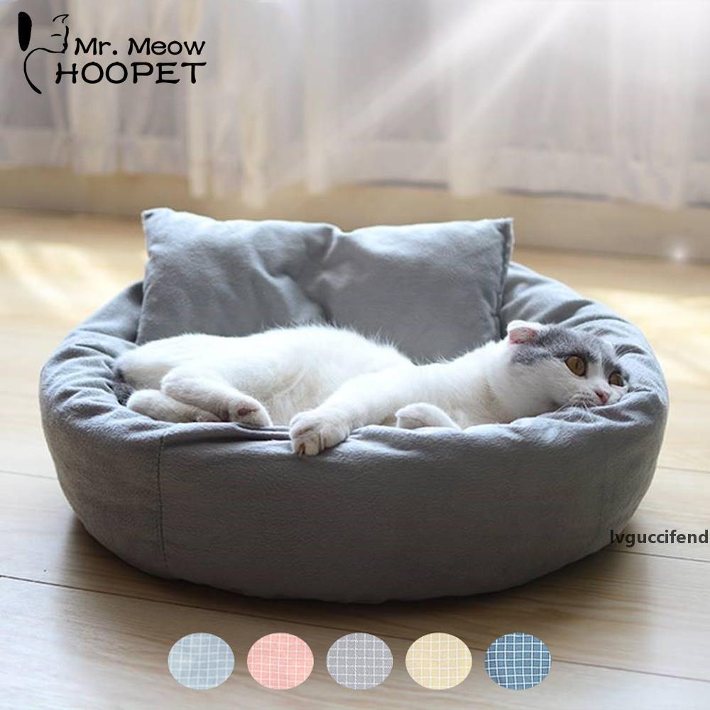 HOPET PET CAT CAT Lounger Sofa Egg Tart geformt Haus PP Baumwollkatze Bett Weiche Plüsch Katzenmatten Große Korb Hund Matratze Haustierbedarf T200101
