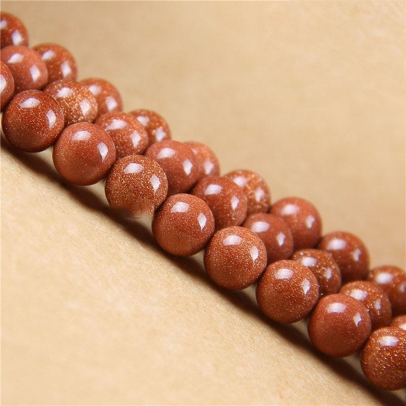 1strand Lot 4 6 8 10 12 Mm Natural Gold Sand Stone Charm Round Beads Loose Spacer Bead For Jewelry Making Diy Necklace Bracelet H jllJMP