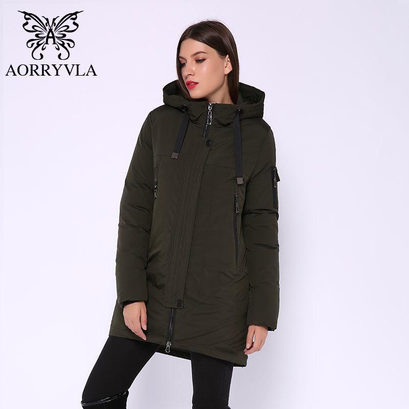 Aorryvla Yeni Kış kadın Ceket Moda Pamuk Uzun Parka Kapşonlu Ceket Kalın Kadın Parkas Kış Ceket Sıcak Yüksek Kalite 201124