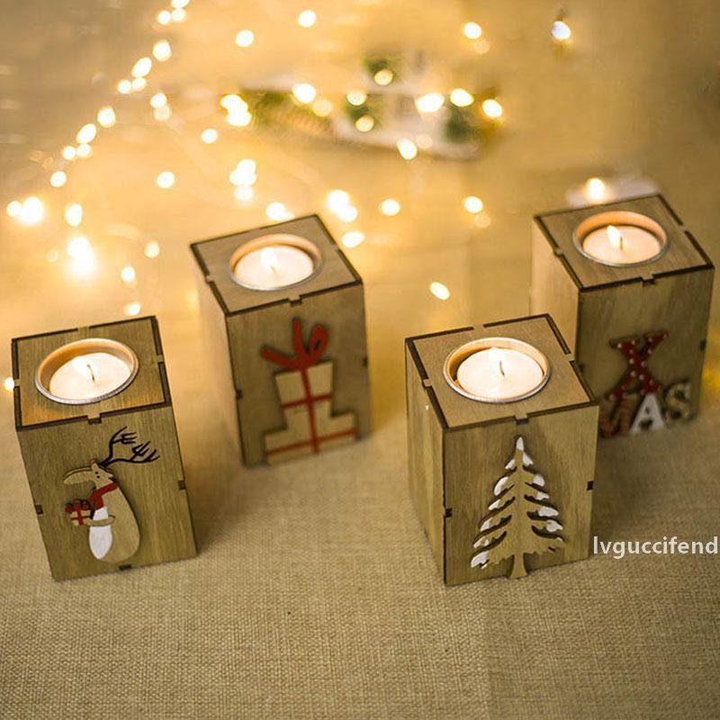 Noel Mumluk Mini Ahşap Şamdan Dekorasyon Desen Ren Geyiği Ağacı Tealight Tutucu Xmas Ev Dekor DHL WX9-1093