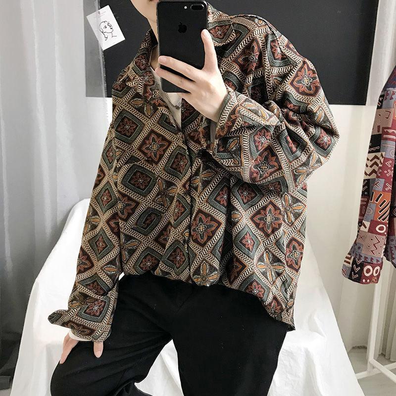 2021 Новый привачанский мужской японский стиль мужчины повседневная рубашка с длинным рукавом Tops Streetwear человек негабаритная винтажная блузка IBGP
