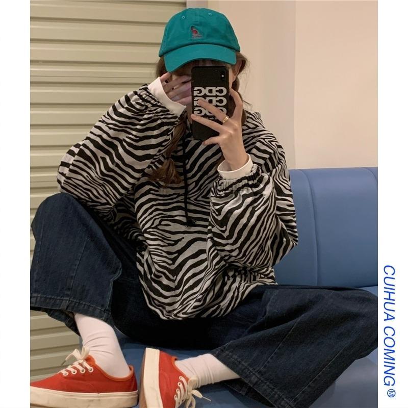 весной и осенью с капюшоном свитер женщин тонкий 2020 новый длинный рукав корейских сыпучие Zebra для печати ленивым топ моды модули