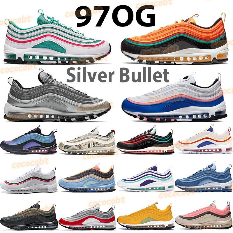 Silver Bullet 97s Chaussures de course Sports Baskets South Beach Moutarde Journal Neon Séoul Undftd Black White jeu Royal Mens Cushion Sneakers