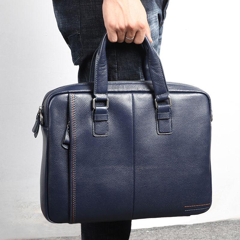 Nesitu Promotion Noir Blue Café Véritable Cuir Bureau pour homme Portefeuille Business Business Bandersenger Sacs LJ200930