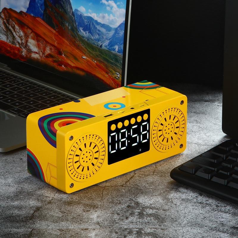 سبارار ستيريو مضخم بلوتوث المتكلم راديو FM المتكلمين المحمولة MP3 تلعب سوبر باس مكبر الصوت العمود الأصفر