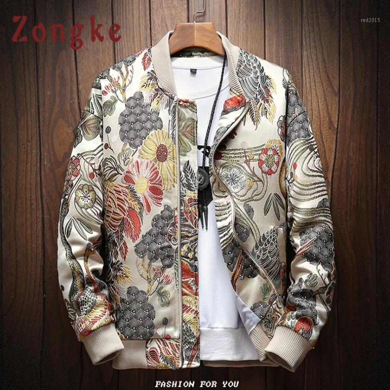 Men's Jackets Zongke Japanese Embroidery Men Jacket Coat Man Hip Hop Streetwear Bomber Clothes 2021 Sping 1