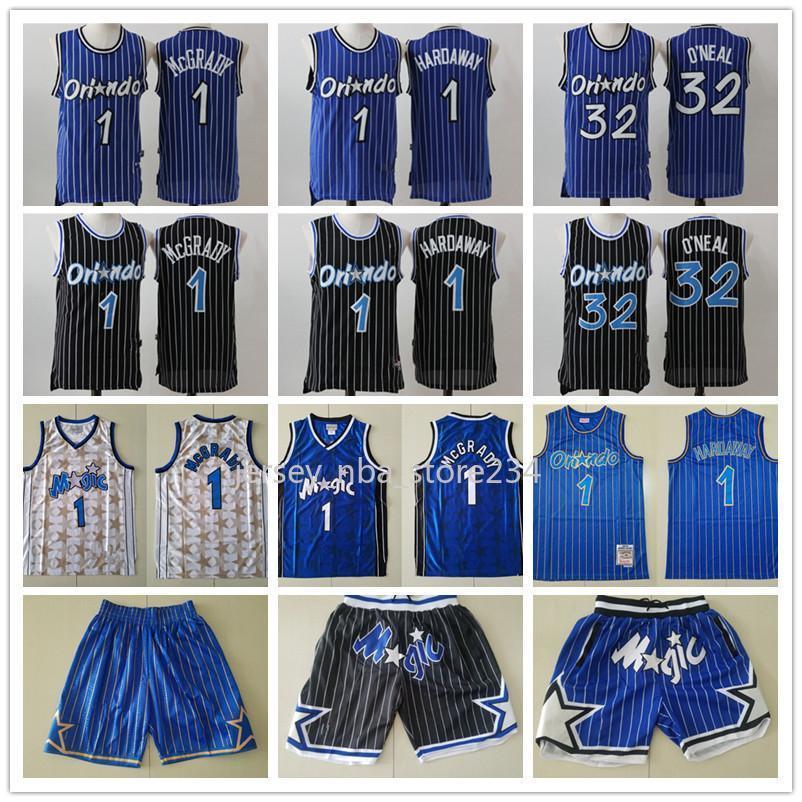 Mens Orlandola magieRetour Shaquille 32 ON NEAL PENNY 1 HADY TRACY 1 MCGRADY Basketball Shorts Basketball Jerseys Bleu