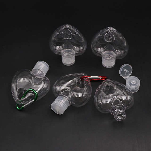 50 мл Пустые дезинфицирующие бутылки для рук PETG любят бутылку крюки для путешествий альпинизм пряжки портативный BWB2560