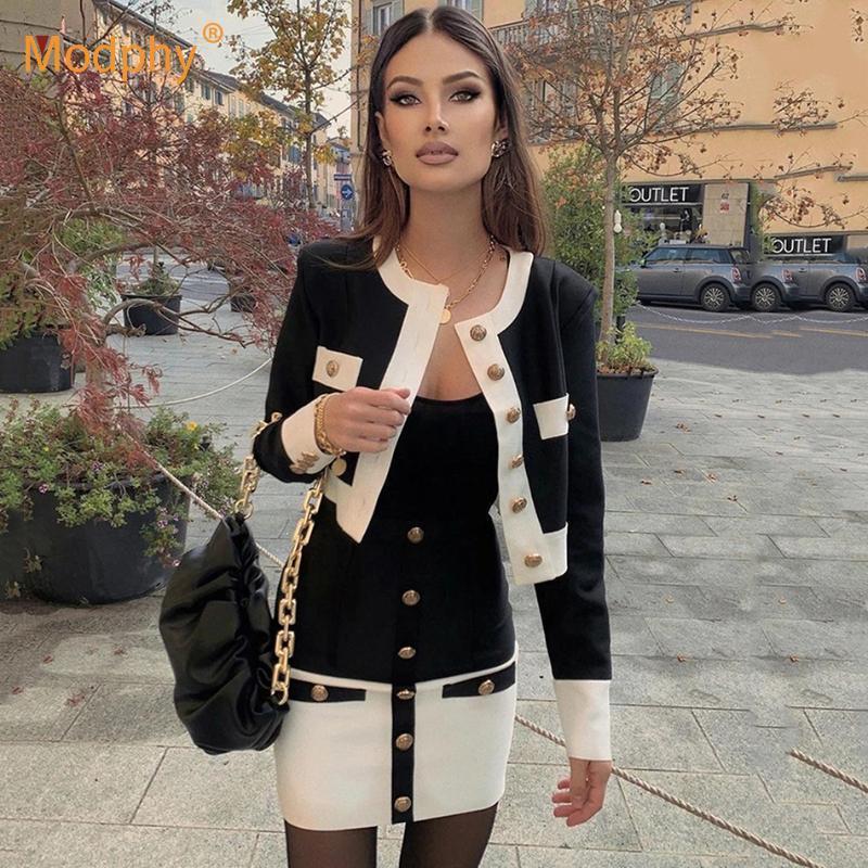 Kadın Eşofmanlar Örme Kadın Set Uzun Kollu Üst Yüksek Bel Kalem Etek Iki Parçalı Takım Elbise Parti Kadın Giyim 2021 Kış