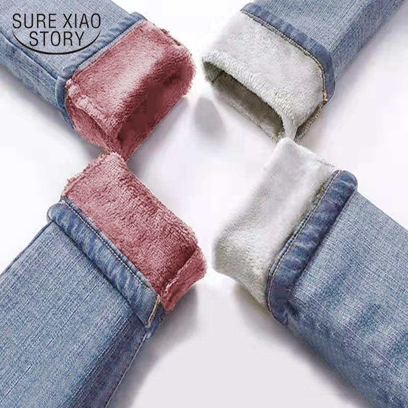 Jeans outono inverno mulheres cintura alta calça jeans lã quente fêmea longo pantalon grosso azul algodão denim calças nova 11371 201109