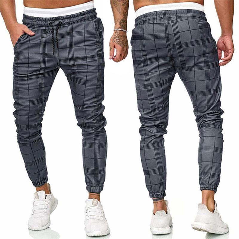 Pantalones a cuadros Hombres Primavera Primavera Impresión de otoño Pantalones Joggers Hombres Hip Hop Streetwear Sweetpants para Fashion Flow Harem Pantalones