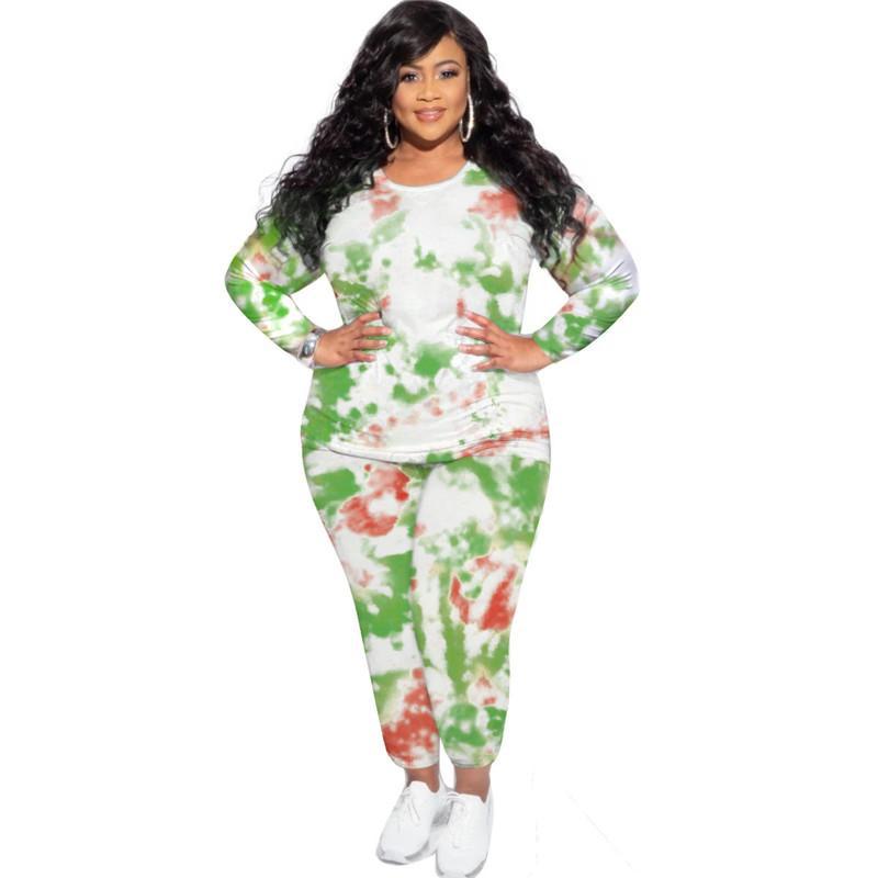 Kravat Boya Artı Boyutu Eşofman Casual Ekip Boyun Bayan İki Parçalı Set Moda Tasarımcısı Bayan Giysileri