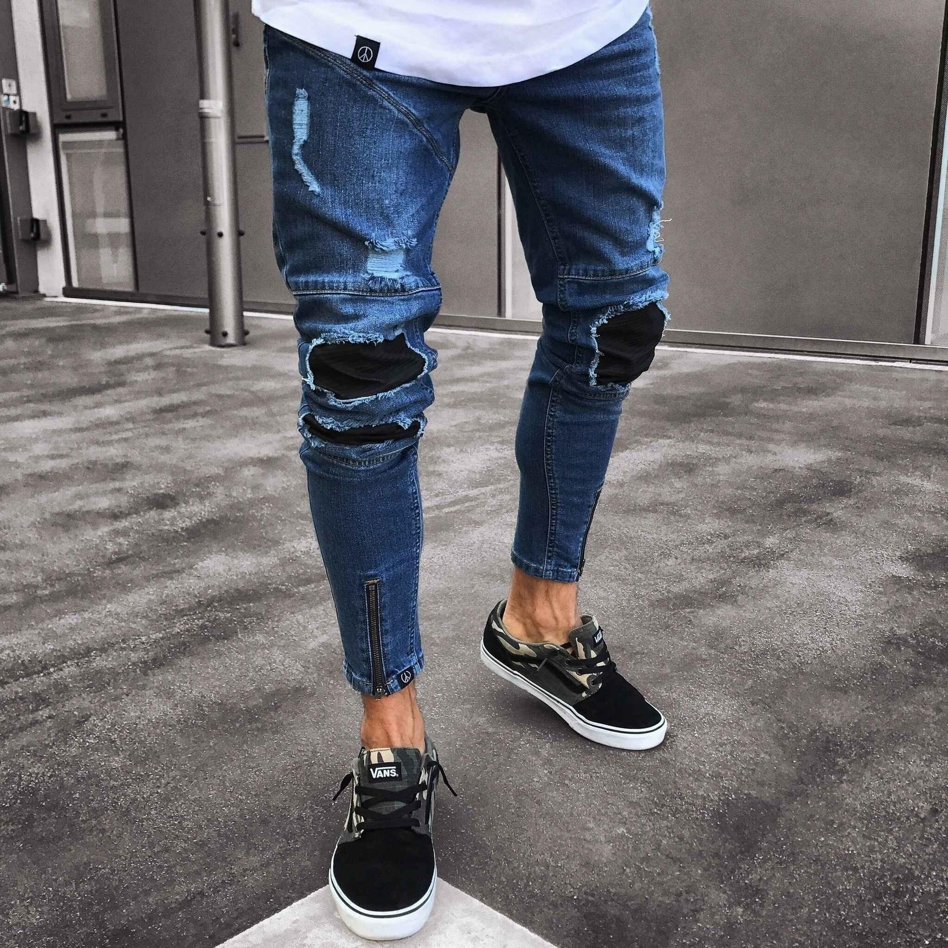 JH Denim Hosen Hip Hop Men Jeans europäische und amerikanische Männer Jeans Neue Stretch Slim Füße Jogger Hose