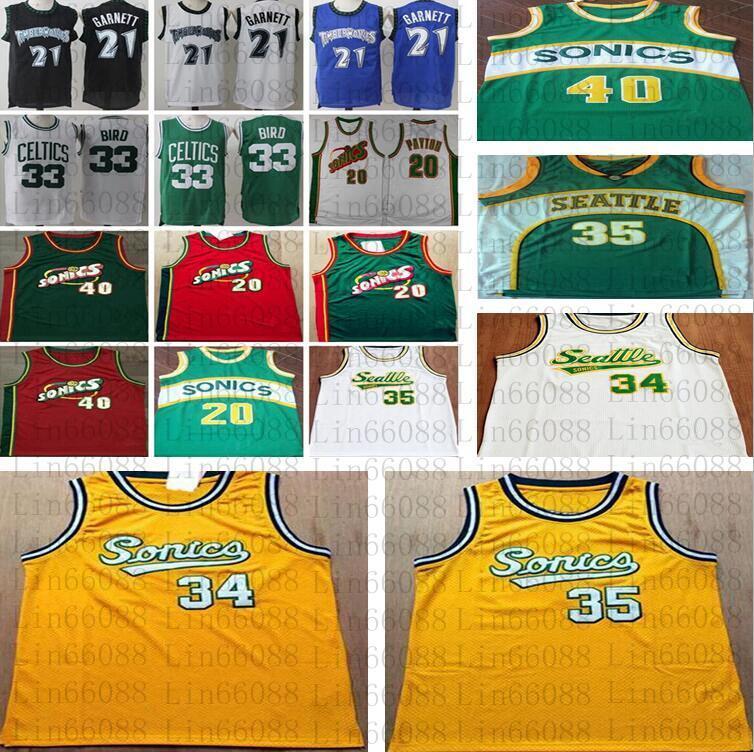 Seattle do vintage.Supersônica.Jersey Gary 20 Payton Shawn 40 Kemp Kevin 35 Durant Ray 34 Allen Novas jerseys de basquete