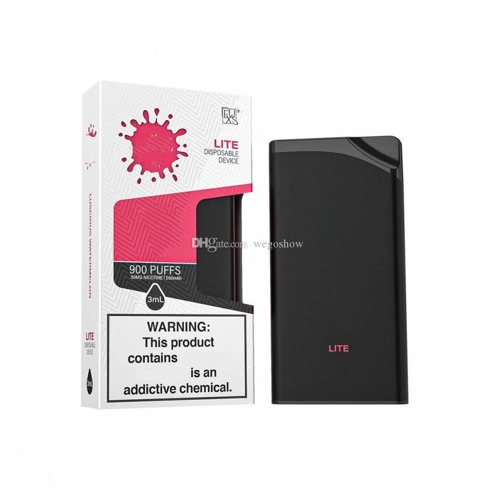 Lite 일회용 장치 키트 550mAh 배터리 Vape 900 퍼프 3ml 포드 카트리지 곡선 S Bang Plus XXL Max Flow