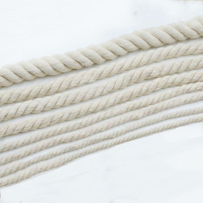 6/19mm Diameter White Cotton Rope Twisted Cord Craft Macrame Cord Artcraft String DIY Handmade Tying Thread Home use1