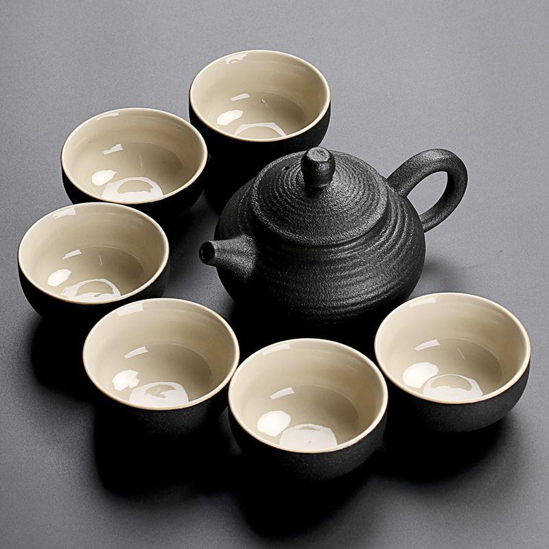 Preto Louça Cerâmica Cerâmica Caçadoras Chá Copos de Porcelana Chinês Kung Fu Chá De Chá De Chá