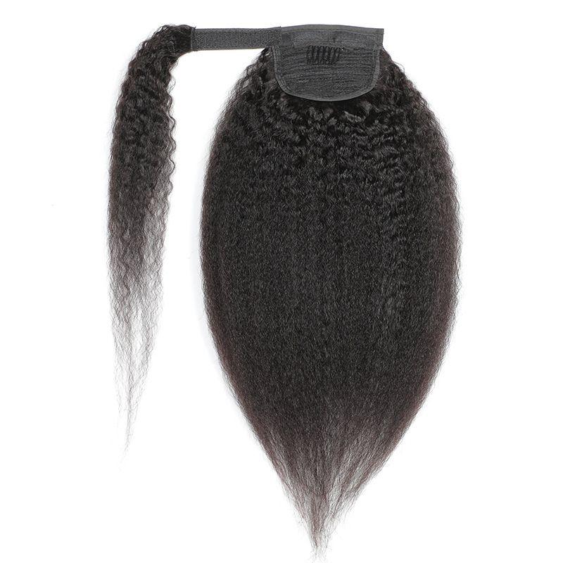 Coda di cavallo Gancio Coda di cavallo Kinky Straight Brasiliano Peruviano Vergine Vergine Umano Hair 8-24inch Yaki Colore naturale Colore naturale Capelli umani 100 g Estensioni per capelli