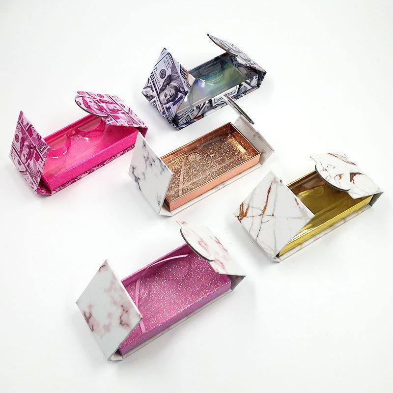 Scatola di imballaggio rosa di marmo scatola di imballaggio rosa falso 3d visone cespugli scatole faux cils strip diamante magnetico custodia vuota