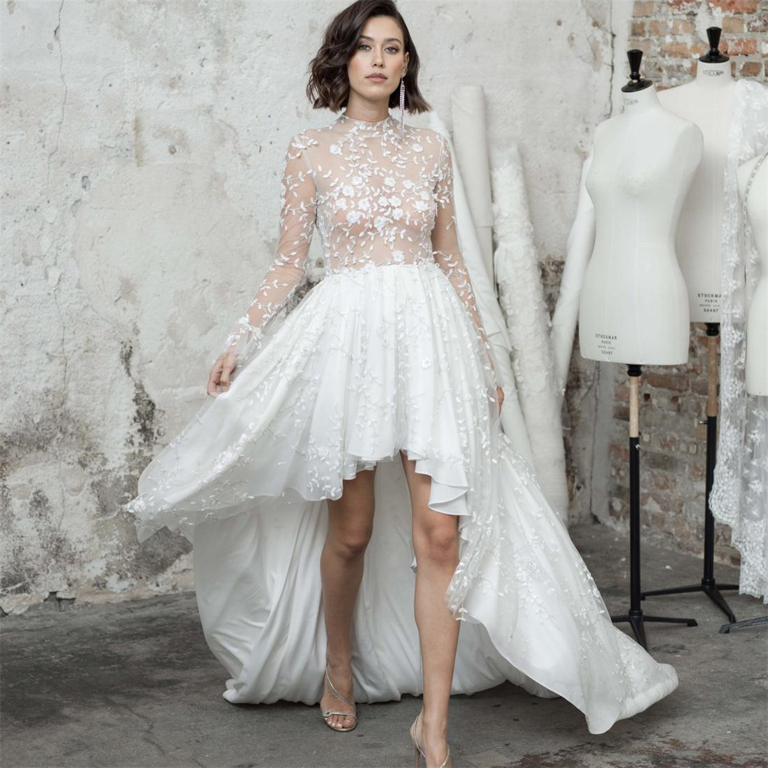 Sexy High Low Wedding Dresses 2021 A Line Backless Vestidos De Novia Lace Applique Customize Sweep Train Long Sleeve Bridal Gowns