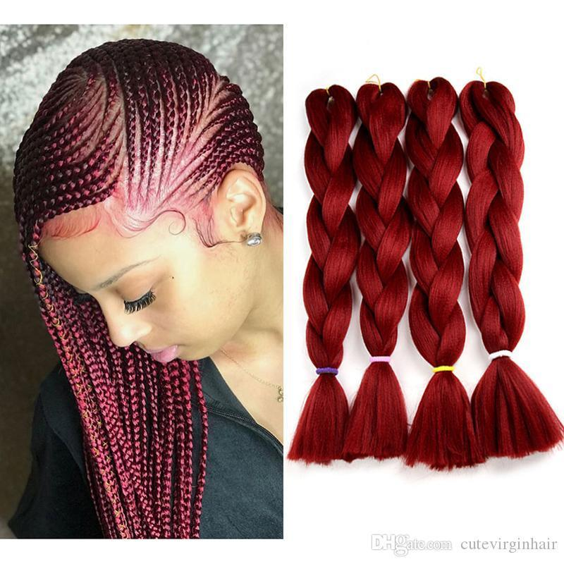 Jumbo tranças cores #burgundy vinho vermelho kanekalon crochet trança cabelo extensões 80g peça dobrada 24 polegadas kanekalon trançando cabelo