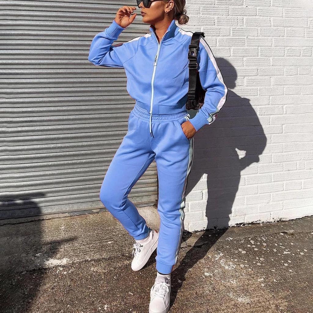 FXWC 2018 Kış Kadın Örme 2 Boyutu Pantolon Uzun Adet O Boyun Sportwear Kazak Kazak Ve Cep Seti Takım 2 Kollu Kıyafetler Artı Parça