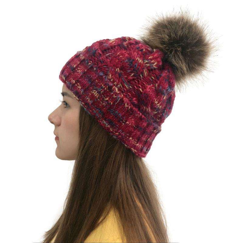 Fashion Women Casual Multicolor Cap Außen Plüsch-Kugel-Kappen Crochet Strickmütze Halten warme Winter Caps Sombrero mujer # 10
