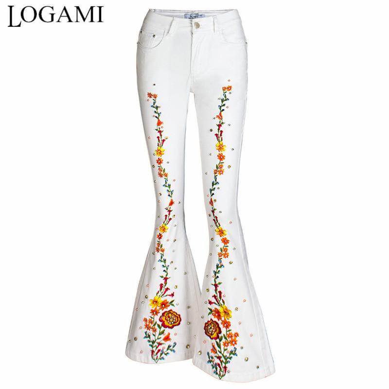 Logami weiß floral stickerei frau flaume pants plus größe frauen 4xl damen jeans